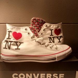 "New! Men's SZ 10.5 ""I ❤️ NY"" Converse White Hi Top"